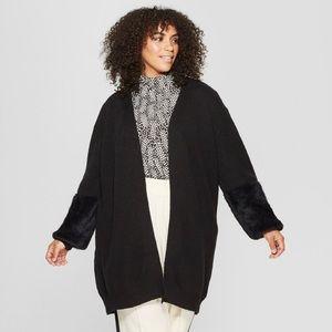 Women's plus size Long Faux Fur cardigan